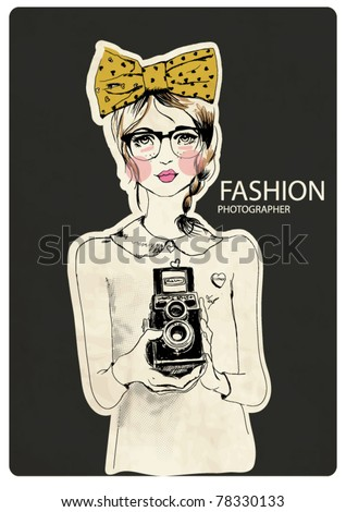 fashion photographer girl with ribbon - stock vector