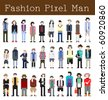 Fashion Pixel Man - Vector Illustration - stock vector