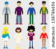 Fashion Pixel People icons. - stock vector