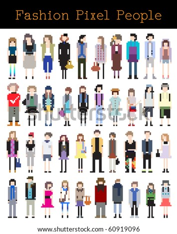 Fashion Pixel People - Part 2 - stock vector