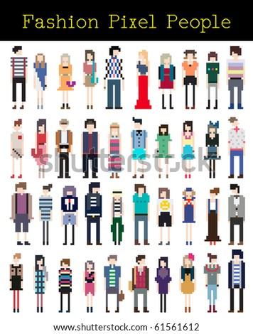 Fashion Pixel People Part 4 - stock vector