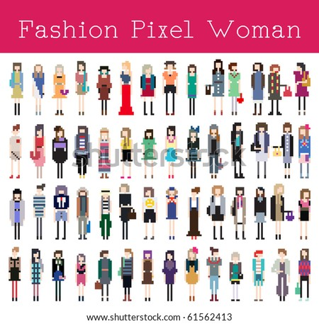 Fashion Pixel Woman Pert 2 - Vector Illustration - stock vector