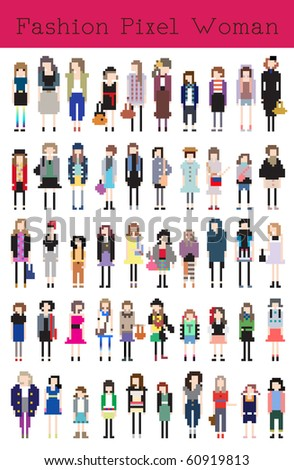 Fashion Pixel Woman - Vector Illustration - stock vector