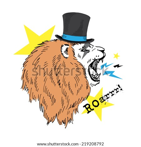 fashion portrait of roaring lion in tall hat - stock vector