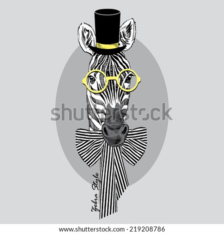 fashion portrait of zebra in tall hat, round retro glasses and stripy bow - stock vector