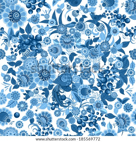 fashion seamless texture with stylized flowers - stock vector
