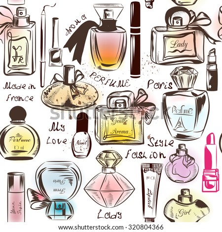 Fashion seamless wallpaper pattern with of different perfumes - stock vector