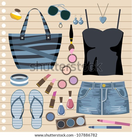Fashion set with jeans skirt. vector
