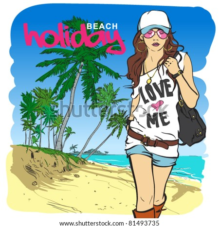 Fashion sexy girl in sketch-style on a beach-background. Vector illustration. - stock vector