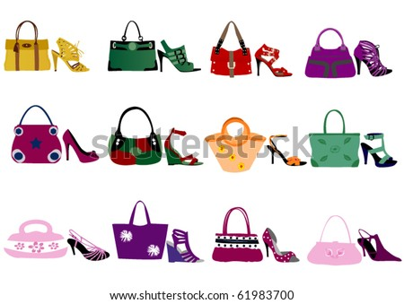 Fashion shoes and bags - stock vector