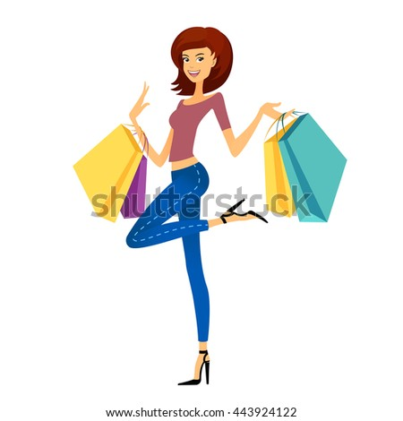Fashion shopping girl. Beautiful woman with shopping bags. Shopper on white background - stock vector