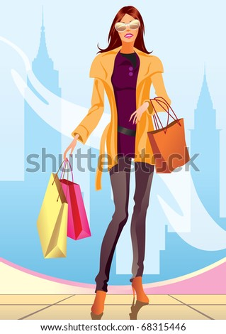 fashion shopping girl with shopping bag in New York- vector illustration - stock vector