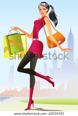 fashion shopping girls with shopping bag - vector illustration - stock vector