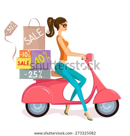Fashion shopping. Vector illustration of fashion young woman driving pink scooter loaded with shopping bags and boxes with sales marks and discounts.