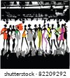 Fashion Show Crowd Vector - stock photo