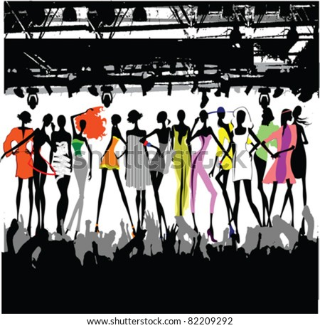 Fashion Show Crowd Vector - stock vector