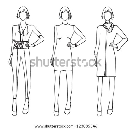 Fashion sketch design winter theme - stock vector