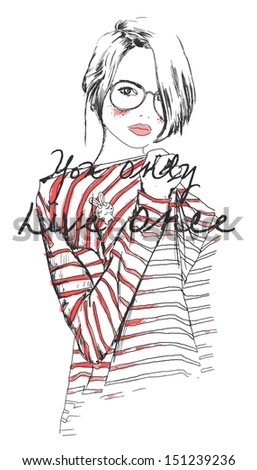 fashion sketch drawing girl with watercolor - stock vector