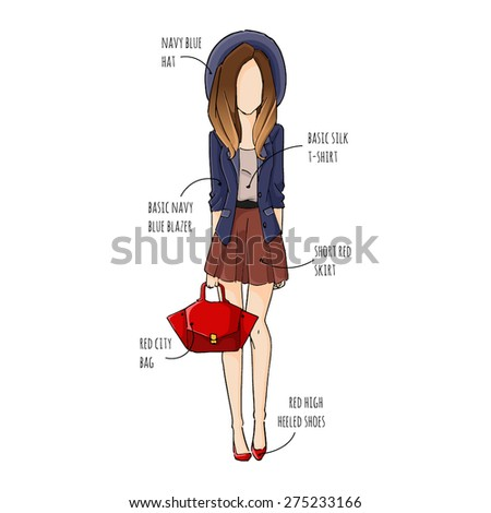 fashion sketch drawing girls in beautiful looks. Hand drawn Illustration with colored girl in fashion outfit and text description. - stock vector