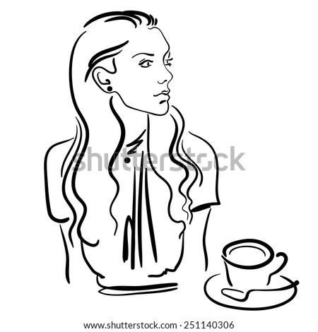 Fashion sketch of the stylish woman drinking coffee. Hand drawn sketch. - stock vector