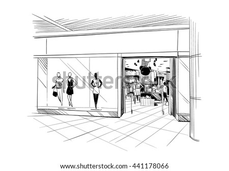 Fashion store hand drawn sketch interior design. Vector illustration - stock vector