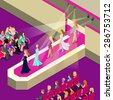 Fashion super models on podium defile pret-a-porter couture show flat isometric 3d vector illustration. Creative people collection. - stock photo
