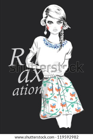 fashion teenage girl for apparel. vector illustration - stock vector