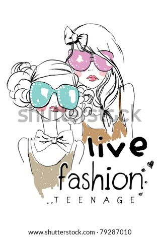 fashion  teenage  girl with sunglasses printing T-Shirt - stock vector