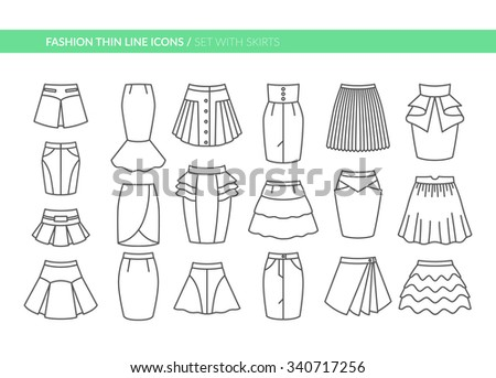 Fashion thin line icons. Set with different skirts. Vector illustration. EPS 10 - stock vector
