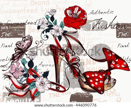 Fashion vector background with sandal and flowers for design - stock vector