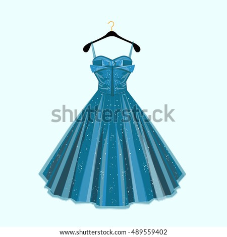 Fashion vector illustration. Blue party dress.