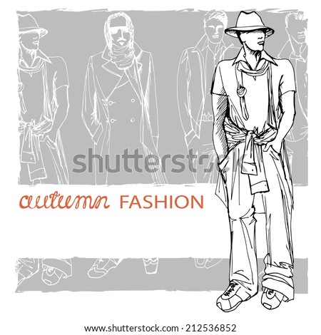 Fashion vector  illustration. Stylish autumnal dude men in hat .In the style of doodle outline hand drawing  sketch. EPS10 grunge background - stock vector