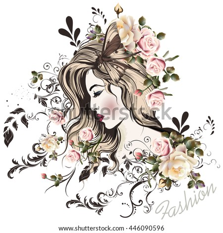 Fashion vector illustration with beautiful young long hared  woman and rose flowers on her head - stock vector