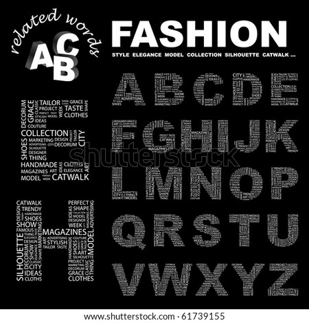 FASHION. Vector letter collection. Illustration with different association terms.