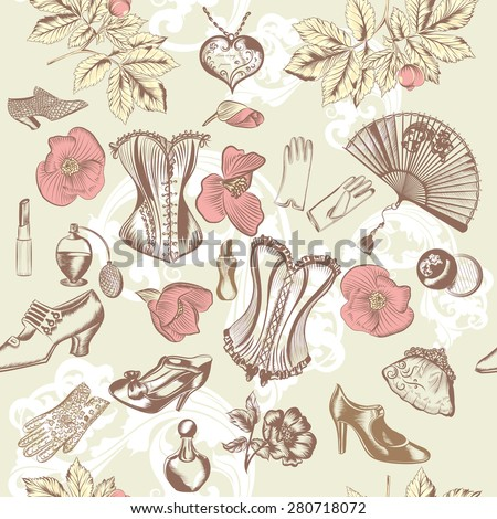 Fashion vintage pattern with vintage ladies accessories - stock vector