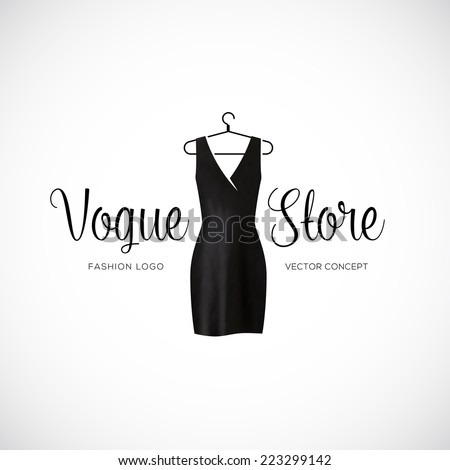 Fashion Vogue Store Logo Template With Black Dress Isolated - stock vector
