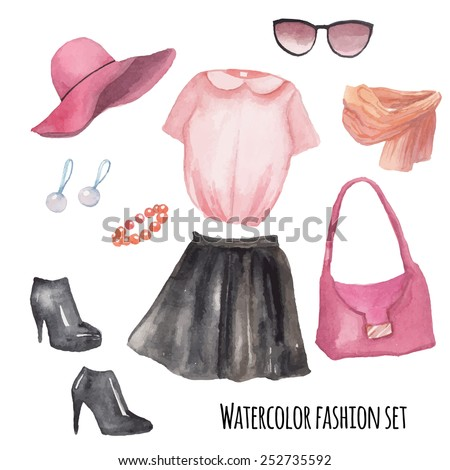 Fashion wardrobe objects set. Hand drawn watercolor clothing and accessories: leather skirt, blouse, hat, bracelet, earrings, scarf, bag, sunglasses, boots. Vector girly look - stock vector
