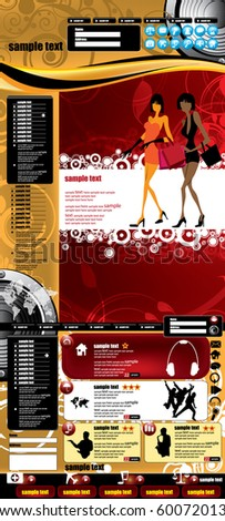 Fashion website template - stock vector