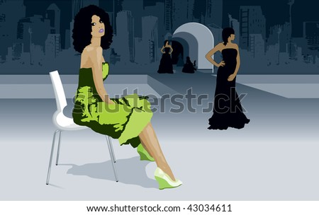 Fashion week models on catwalk with city skyline vector - stock vector