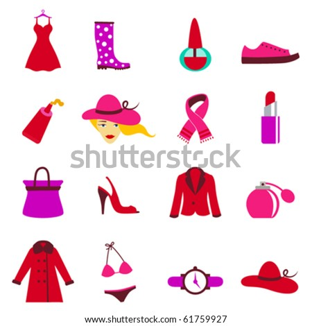 fashion woman icons - stock vector