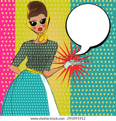 fashion woman in pop art style - stock vector