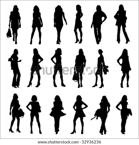 Fashion Woman Silhouettes - stock vector