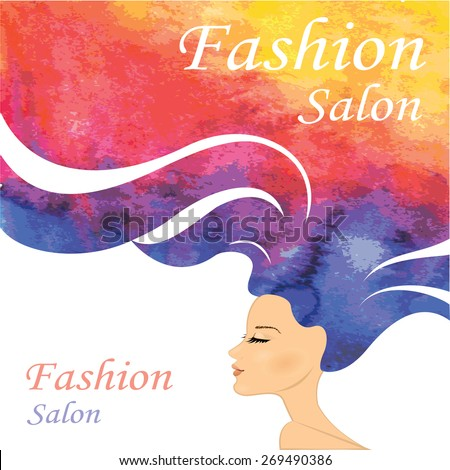Fashion Woman with Long watercolor  Hair. Vector Illustration. Stylish Design for Beauty Salon Flyer or Banner. - stock vector