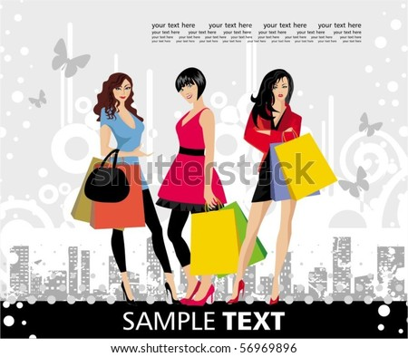 Fashion womans at the shopping. Grunge background - stock vector