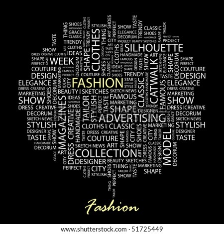 FASHION. Word collage on black background. Vector illustration. - stock vector