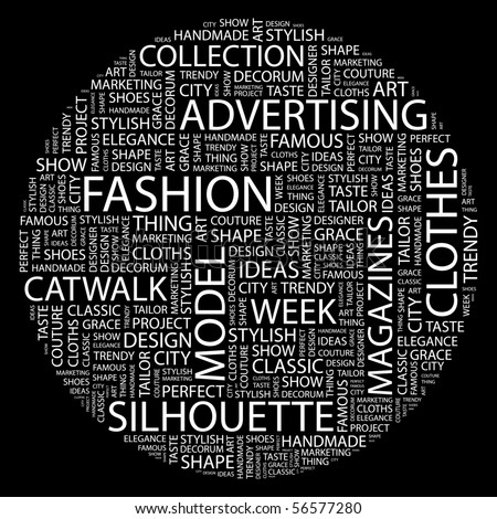 FASHION. Word collage on black background. Word cloud concept illustration of  association terms. - stock vector