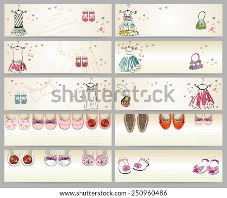 fashionable beautiful clothes and shoes for little girls. Banners - stock vector
