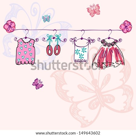 fashionable beautiful clothes for little girls - stock vector