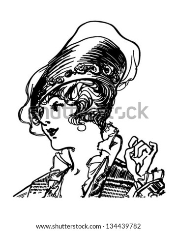 Fashionable Early Century Gal - Retro Clip Art Illustration - stock vector