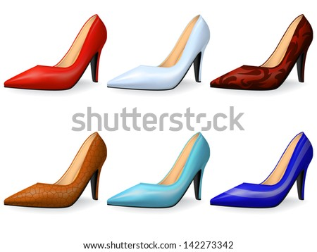 Fashionable female shoes in classical style gradient mesh - stock vector